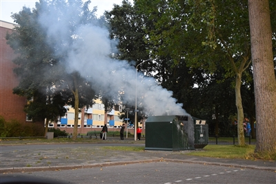 Papiercontainer in brand in Zuidwest